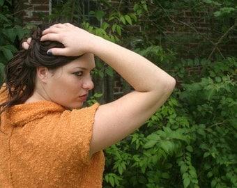 Orange Liz Claiborne Short Sleeve Sweater