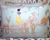 1950's Vintage Snow White and the seven dwarfs Fabric Pale Green, Handmade Embroidery Stitched Throw Cushions