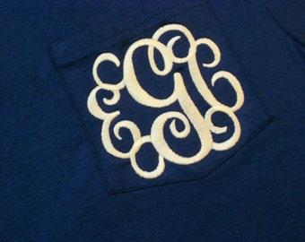 Monogram Short Sleeve Pocket Tee  Font Shown INTERLOCKING