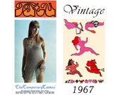 Sexy Nude Temporary Tattoos -  Vintage 1960s Body Art - Risque Naked Lady,  Caveman , Cupid and Devil Tattoos -  Hipster Tattoos