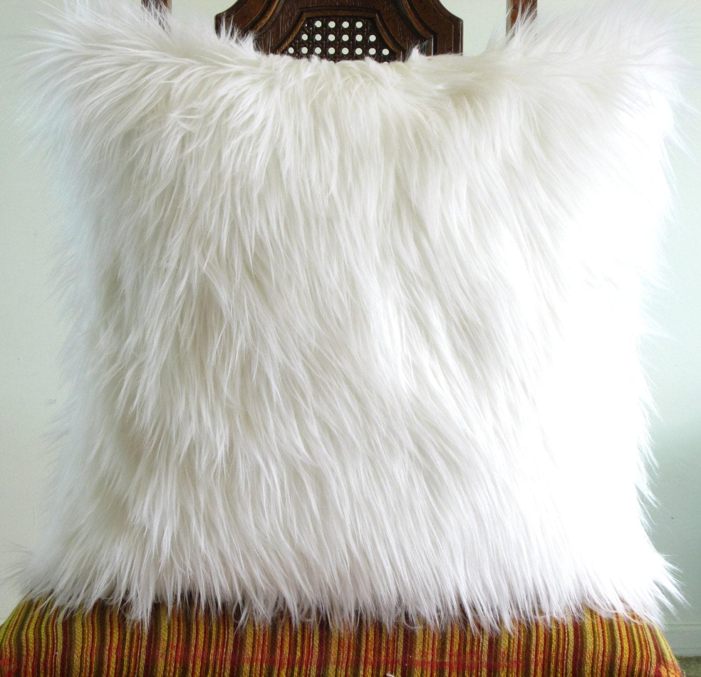 Fur Throw Pillow Covers : White fur pillow covers 24 X 24 decorative white fur white