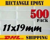 500 pcs. Rectangle 11x19 mm Clear Epoxy Stickers