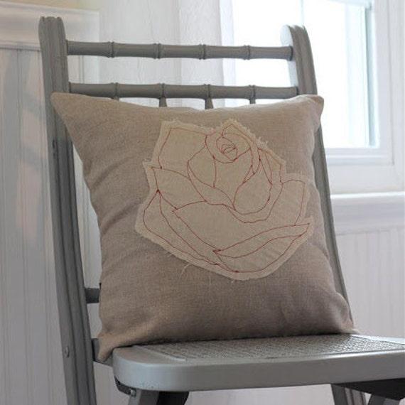 shabby rose pillow cover, 16X16 linen
