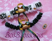 custom fit GREEN BAY PACKERS white print fabric handmade into wedding bridal keepsake garters - garter set w/G logo - size xs s m l xl