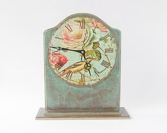 Clock Table / Vintage Style Desk Clock / Brown Mint Green / Bird and Roses