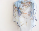 Sky blue Silk scarf hand painted on chiffon Wedding scarf - made TO ORDER