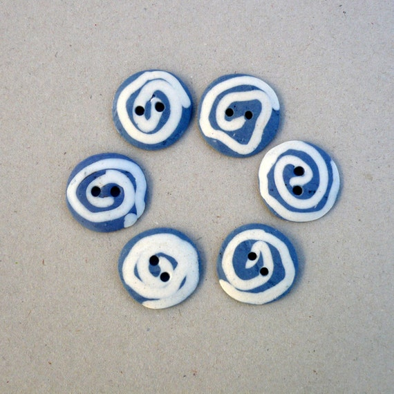 Blue White Buttons. Porcelain buttons with Spiral Decoration.Sewing Buttons.
