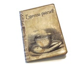 Coffee Mini Journal, Coffee Notebook, Express Yourself Pocketbook, Vintage Coffee Cup, Gift for Coffee Lovers, Coffee Diary