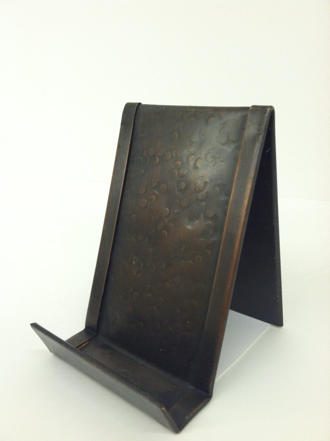 round hammered vertical business card holder bronze patina