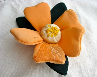 SALE 20%OFF,Brooch ,Flower Pin, Ornament,with Japanese Silk Kimono fabric,Camellia