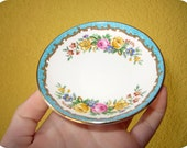 Antique Vintage English Crown Staffordshire Fine Bone China circa 1930s mini butter pat plate saucer RARE Anthropologie Kitchen Tea Blue