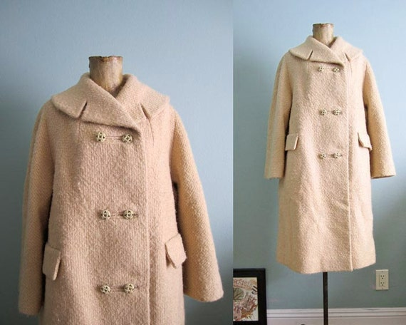 SALE 1950s coat/ 50s swing coat/ camel beige 1960s jacket