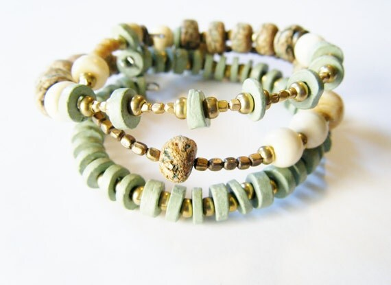 50% OFF SALE, India Yoga Bracelet Set, Earthy Bracelets, Gypsy Bracelets