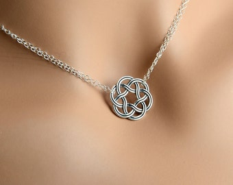 All Sterling Celtic Double Chain Necklace, Celtic jewelry, Celtic Knot,  minimalist jewelry, sterling jewelry