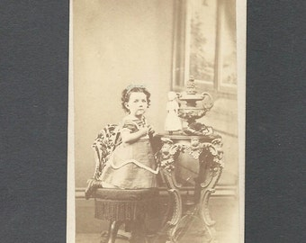 Tinted CDV of a Little Girl and Her Doll