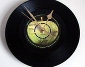 "The Beatles, ""Get Back"", Vinyl Record CLOCK, made from a recycled 7"" record,  retro gift for Beatles fans, black and green, green apple"