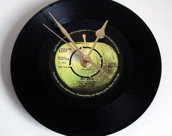 """The Beatles, """"Get Back"""", Vinyl Record CLOCK, made from a recycled 7"""" record,  retro gift for Beatles fans, black and green, green apple"""