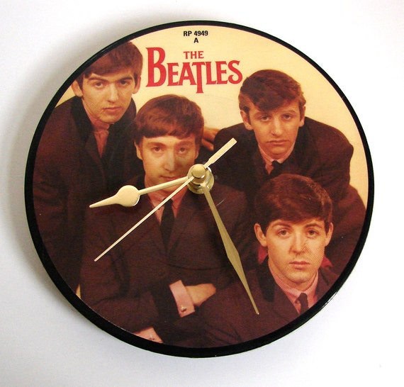 """Original BEATLES Vinyl Record CLOCK made from recycled 7"""" picture Disc original gift for guys girls mums dads"""