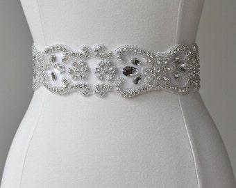 SALE - SPECIAL - Bridal crystal belt, rhinestone sash, bridal sash, bridal belt, vintage bridal sash