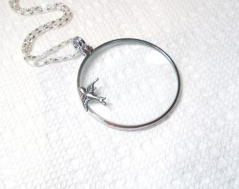 "Bird Magnifying necklace -2"" magnifying glass  pendant , Fun and Handy-Trendy and Chic Jewelry FREE GIFT With PURCHASE"