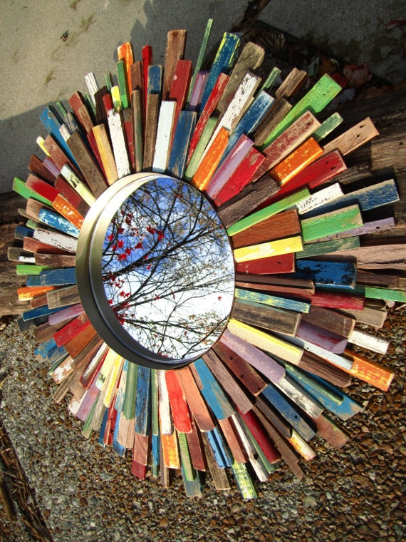 Reclaimed Wood Colorful Sunburst Mirror Art Wreath MADE TO ORDER