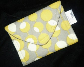 Amy Butler Gray & Yellow Credit Card, Business Card Case/Pouch