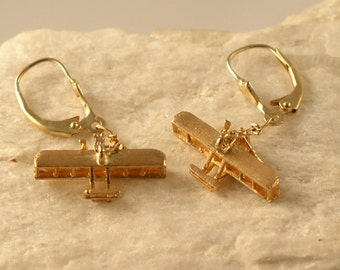 14k Gold or Silver Wright Flyer Airplane Earrings