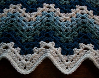"Baby Boy/Child  Blanket/Afghan Hand Crocheted Granny Ripple Design White Yarn And Three Shades Of Blue Yarn 34"" X 41""  READY TO SHIP"