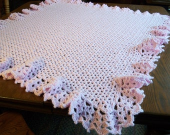 Baby Girl/Child  Blanket/Afghan  Hand Crocheted Lacy Border Pastel Pink Yarn 38 Inches Square READY TO SHIP
