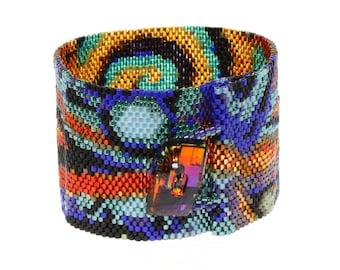 14 Color Peyote Stich Abstract Design Bracelet with Swarovski Element Button.