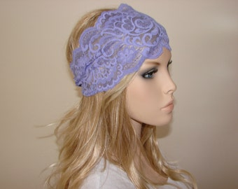 Purple lavender lace headband wide, bohemian head scarf, hippie head wrap, bandana headband, yoga Headband, boho head scarf ,turban headband