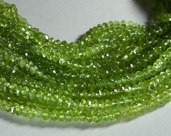 Lime Green Peridot Hand Faceted Rondelle Beads Whole Strand 3.5mm to 4mm