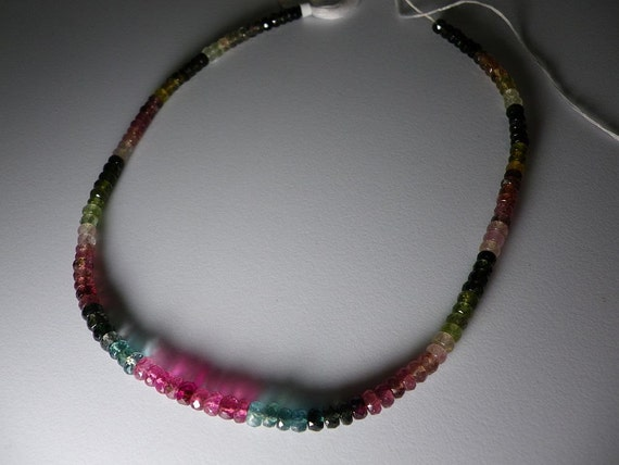 Watermelon Tourmaline Faceted Rondelle Beads Whole Strand 4.5mm - 5mm