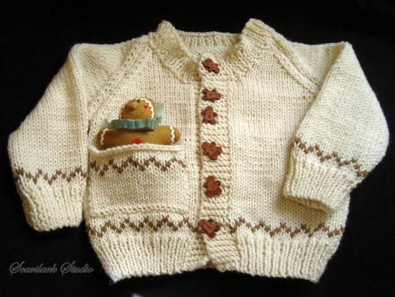 Gingerbread Man Jumper Knitting Pattern : Childs Hand Knitted Sweater Gingerbread Man boy or girl