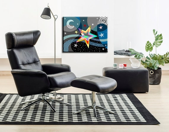 "Star Art Print On Wood Block , Star Wall Art,  Inspirational Stars Wall Art,  Twinkle Little Stars , Colourful Art, 16"" X 20"" X 1.5"""