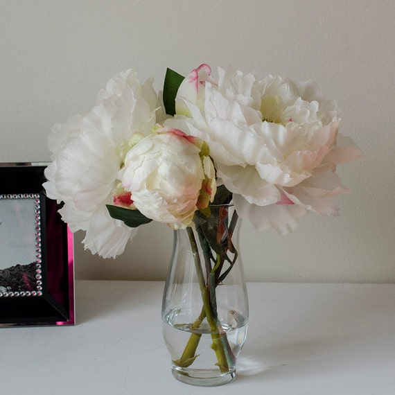 White Open Peony Bud Glass Vase