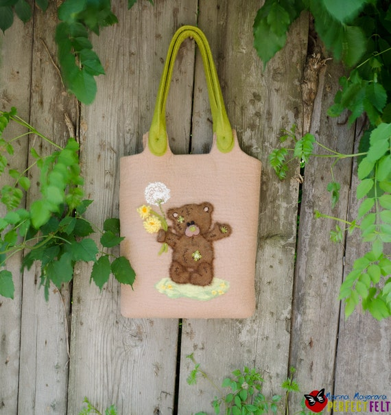 Handbag Felted women felt Bag designer Purse Teddy Bear