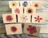 Notecards-Flower Notecard Set-Nature-Outdoors-Stationery-Each Card UNIQUE-10 Pack- Blank Inside