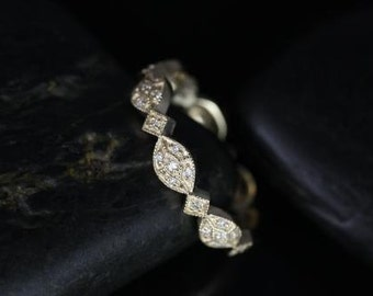 Rosados Box Marquisa 14kt Yellow Vintage Styled Oval and Marquise Diamonds ALMOST Eternity Band