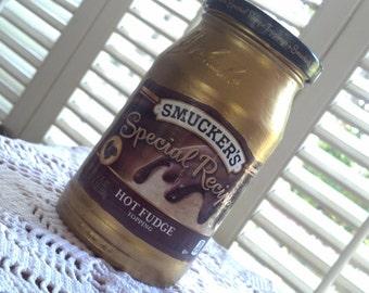 Smucker's Special Recipe Hot Fudge Hand Painted Jar OOAK