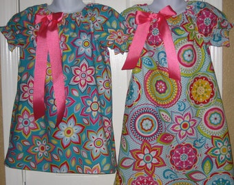 Coordinating Girl's Easter Dresses in Bright Floral Print