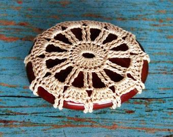 Crocheted Lace Carnelian Gemstone, Lace Stone, Tiny, Ecru Cotton Thread, Pendant, Unique Gift