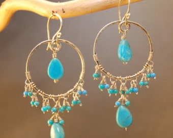 Hammered hoops wrapped with choice of stone Siren 156