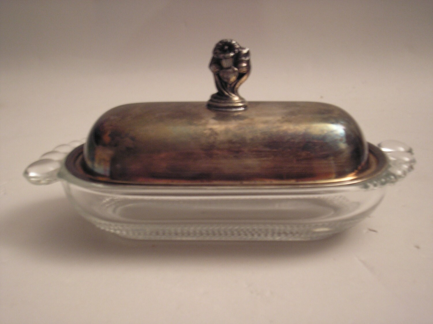 1950 1973 Crystal Butter Dish With Silverplate Lid In The