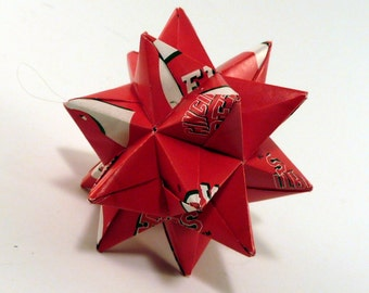 Small Origami Star Made From Licensed Cincinnati Reds Paper, Cincinnati Star, Reds Baseball Decoration, Cincinnati Baseball