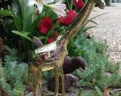 Bold vintage brass giraffe statue