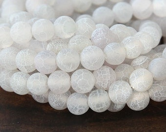 Frosted Agate Beads, Snow White, 8mm Round - 14 inch strand - eGR-AGF5-8