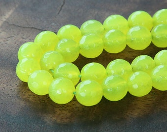 Faceted Jade Beads, Neon Yellow, 8mm Round - 15 Inch Strand - eJFR-Y48-8