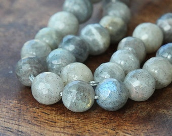 Labradorite Beads, 10mm Faceted Round - 15 inch strand - eGF-LB001-10