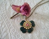 vintage guilloche  emerald green and pink  rose irish shamrock 4 leaf clover vintage  irish  pendant charm necklace by hermina's cottage